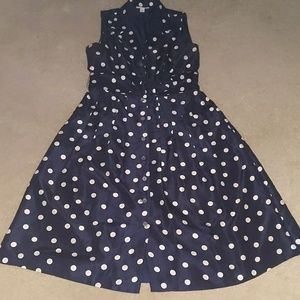 DressBarn Navy blue and white polka dot dress